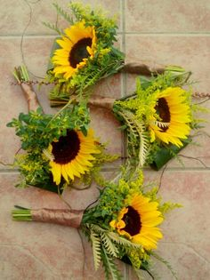 Attendant's Bouquets Featuring: Yellow Sunflowers + Green Bupleurum, Folded Green Aspidistra Leaves & Additional Greenery