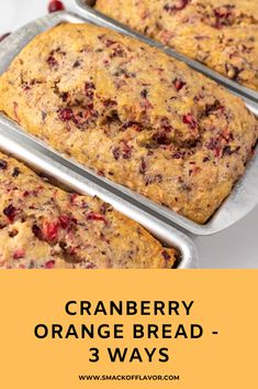 This easy cranberry orange quick bread recipe can be made three different ways. Recipe and tips for cranberry orange quick bread loaf, mini loaves (pe Orange Cranberry Loaf, Cranberry Bread, Cranberry Muffins, Cranberry Cookies, Cranberry Recipes, Orange Recipes, Loaf Recipes, Quick Bread Recipes, Gourmet Recipes