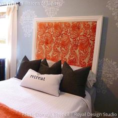 Random Wall Art Pattern on Bedroom Accent Wall - Fabric Damask Wall Stencils - Royal Design Studio