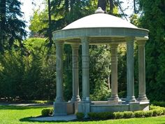 Outdoor Concrete Gazebo with Classic Column in a Park