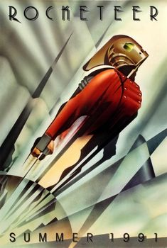 Rocketeer Advance Art Deco 1991 - original vintage movie poster by John Mattos for the Walt Disney superhero film Rocketeer based on the comic book character created by Dave Stevens, directed by Joe Johnston and starring Bill Campbell, Jennifer Connelly, Alan Arkin, Timothy Dalton and Paul Sorvino, listed on AntikBar.co.uk