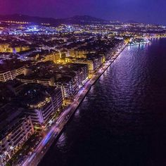 Στη Σαλονίκη κάποια νύχτα θα βρεθείς.........❤ Porches, Beautiful Islands, Beautiful Places, Macedonia Greece, Thessaloniki, Travel And Tourism, Aerial View, Places To Visit, Landscape