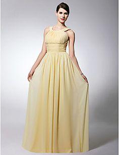 Bridesmaid Dress Floor Length Chiffon Sheath Column Scoop Dr... – USD $ 89.99
