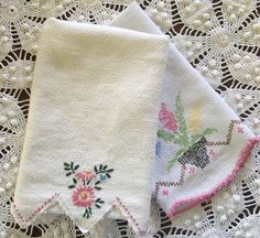 Vintage Towels - Pink & White Embroidery - Cross Stitching - Crochet Edging - Huck Linen, pair by catnapcottage on Etsy https://www.etsy.com/listing/451756806/vintage-towels-pink-white-embroidery