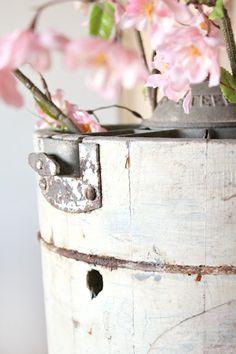 Vintage Ice Cream bucket vase