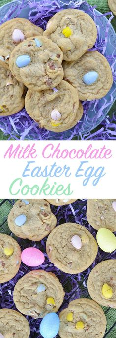These cookies start out with a perfect, chewy base, and are packed full of milk chocolate Easter egg candies. They're a perfect festive spring Easter dessert!