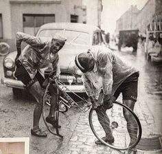 Ferdi Kubler (left) and his loyal domestique, Emilio Croci Torti. Keeping his captain rolling.