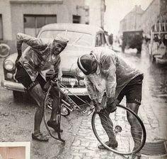 Ferdi Kubler (left) and his loyal domestique, Emilio Croci Torti. Keeping his captain rolling.