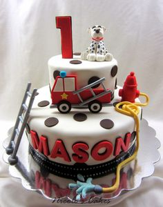 Confections, Cakes & Creations!: Firetruck & Dalmation 1st Birthday Cake!