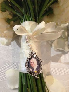 Wedding Bouquet Memory Charm With Photograph Pearls Bow And Heart In