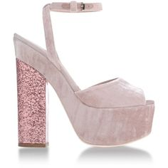Giamba Sandals (1.120 BRL) ❤ liked on Polyvore featuring shoes, sandals, heels, pink, buckle sandals, ankle strap heel sandals, heeled sandals, ankle strap sandals and pink heeled sandals