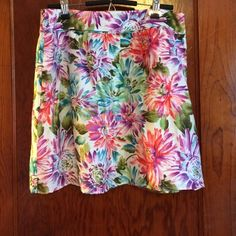 """Floral Skirt by Loft This a linen and polyester floral skirt by Loft. It features a 2"""" waistband and a side zipper. Fully lined. Worn twice. In excellent condition. Size 12. LOFT Skirts"""