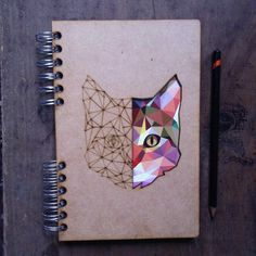 A5 Laser cut recycled geometric cat