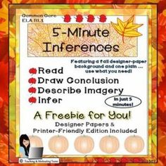 Freebie for you! 5-Minute Inferences - RL 1 Read Story, Draw Conclusions.