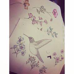 Sunday evening sketching ✏️ #Sunday #sketch #doodles #flowers #hummingbird #fineliners #promarker #printdesign