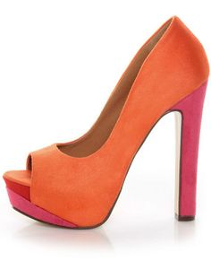 My Delicious Rainer Coral Multi Color Block Platform Heels @ lulus