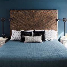 ▷ 1001 + DIY headboard models to make oneself easily Contemporary Bedroom, Modern Bedroom, Bedroom Decor, Bedroom Ideas, Diy Headboards, Headboard Ideas, Wood Beds, Cozy Bed, White Bedroom