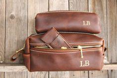 Double Zipper HANDMADE Men's Leather Toiletry by LifetimeLeatherCo, $149.00