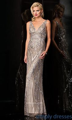 V-Neck Open Back Sequin Formal Gown at SimplyDresses.com Love this!  Just need to find it cheaper somewhere...