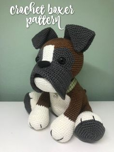 Crochet pattern amigurumi Boxer. Crochet your own amigurumi stuffed animal, to collect or to give. Personal and unique! etsy find Crochet Patterns Amigurumi, Crochet Hats, Crochet Ideas, Stuffed Animals, Dinosaur Stuffed Animal, Beagle Puppy, Crochet Slippers, Unique Image, Cute Pattern