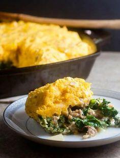 Sausage and Kale Breakfast Casserole Kale Recipes, Brunch Recipes, Breakfast Recipes, Healthy Recipes, Drink Recipes, Breakfast Ideas, Breakfast Casserole With Biscuits, Recipes, Breakfast