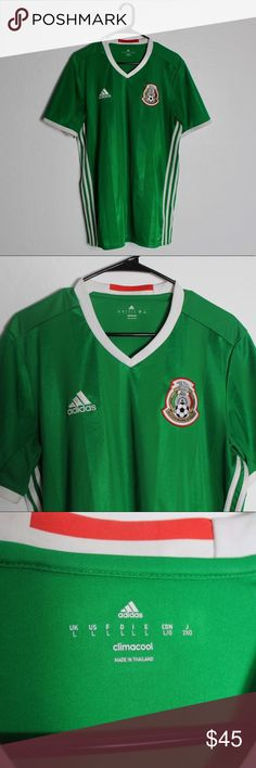 """Adidas Mexico Soccer 2017 ClimaCool Jersey Adidas Mexico Soccer Futbol 2017 Official ClimaCool Team Jersey  Size: Men's Large  Measurements: (Pit to pit 21.5"""") (Top to bottom 30.5"""") Condition: 9.5/10 (Looks and feels brand new) adidas Shirts"""