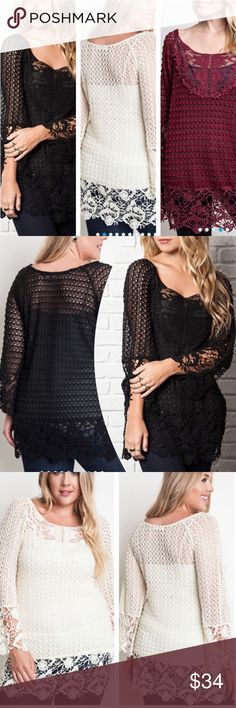 STUNNING LACE CROCHET TUNIC This piece is exquisite! Feminine lace crochet, mini bell sleeves on this semi sheer stunner. Polyester/Cotton with a hint of spandex. Measurements upon request. BLACK, BURGUNDY OR CRÉME. tla2 Tops Tunics