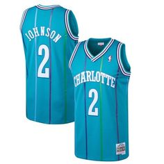 449065fb3e3a Larry Johnson Charlotte Hornets Mitchell   Ness 1992-93 Hardwood Classics  Swingman Jersey - Teal