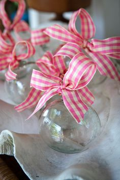Adorn clear glass ornaments with various ribbon - perfect use for dough bowl Christmas Time Is Here, Christmas Love, All Things Christmas, Christmas Crafts, Christmas Decorations, Christmas Ornaments, Celebrating Christmas, Christmas Trees, Clear Glass Ornaments