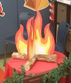 how to make a fake fire - prop idea for a craft fair booth                                                                                                                                                                                 More