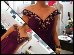 Purple silky chiffon evening dress...