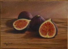 """Saatchi Art Artist ΑγγελικΗ  Aggeliki; Painting, """"Figs"""" #art  Oil on Canvas.  Size: 15.5 H x 21.5 W x 1.5 cm, NOT AVAILABLE"""