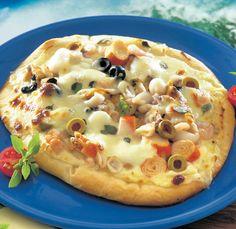 Tenger gyümölcsei pizza – készült az OnLive© főzőiskolában – Receptletöltés Taco Pizza, Hawaiian Pizza, Cheeseburger Chowder, Mozzarella, Tacos, Soup, Soups