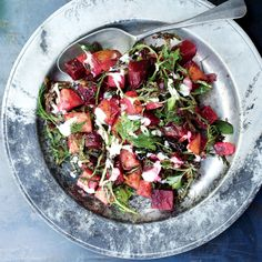 Marinated beets with potatoes & horseradish-- The beet juices will tint the potatoes swirly-pink when tossed together; it's best not to fight it.