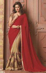 Light Coffee & Red Color Jute Raw Silk Party Wear Sarees : Gunjan Collection YF-33513
