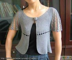 jackets and cardigans, crochet Crochet Bolero, Cardigan Au Crochet, Pull Crochet, Mode Crochet, Crochet Jacket, Crochet Cardigan, Knit Crochet, Crochet Summer, Irish Crochet