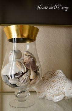 Sea shells in a vase add a simple & elegant touch to your beach decor.