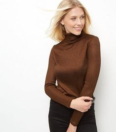 Brown Fine Knit Ribbed Turtle Neck Jumper  | New Look