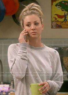 Penny's grey flower sweatshirt on The Big Bang Theory Caley Cuoco, Big Bang Theory Penny, Strapless Midi Dress, Girl Fashion, Fashion Outfits, Grey Flowers, Pineapple Print, Trends, Beautiful Celebrities