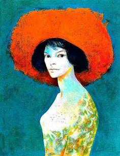 Autoportrait au Chapeau Rouge (Self-Portrait with Red Hat) by Leonor Fini, 1968 Art And Illustration, Figurative Kunst, Alphonse Mucha, Art Moderne, Oeuvre D'art, Female Art, Painting & Drawing, Art History, Modern Art