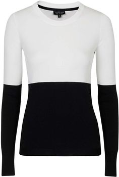 Womens black and white tall colour block jumper - monochrome, monochrome from Topshop - £39 at ClothingByColour.com