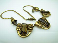 Czech Glass Art Deco Bib Necklace. Gold Gilt Filigree. Honey Amber Topaz Crystal Rhinestones And Beads.  Vintage Art Deco Jewelry c1920 by MercyMadge on Etsy