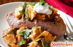 Loaded BBQ Chicken Sweet Potato. My new favorite 15-minute meal!! | via @SparkPeople #healthy #recipe #chicken #sweetpotato