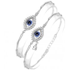 This lucky eye teradrop bracelet made of 925 sterling silver with blue evil eye bead and clear cz stones. Evil eye beads have been worn for centuries to ward off all the negative forces of the world. Bangle Bracelets, Bangles, Evil Eye Bracelet, Opal Rings, Bracelet Making, Jewels, Sterling Silver, Beads, Stone