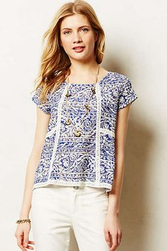 [Placement of lace inserts] -- Anthropologie - Flores Tee