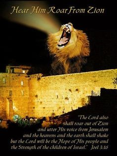 "Joel 3:16, ""The Lord also shall roar out of Zion, and utter his voice from Jerusalem; and the heavens and the earth shall shake: but the Lord will be the hope of his people, and the strength of the children of Israel."""