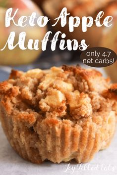 In just 30 minutes of time, these Keto Apple Muffins are going to be hot and ready to eat! The delicious flavor of fresh apples paired with the flavor of cinnamon makes this one of the best fall muffin recipes, ever. They have only 4.7 net carbs despite being full of real apples. Low Sugar Recipes, No Sugar Foods, Apple Recipes, Diabetic Recipes, Keto Recipes, Keto Foods, Healthy Recipes, Low Carb Bread, Keto Bread