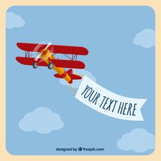 Light airplane with a banner Free Vector