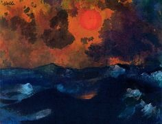 Emil Nolde ( German 1867 - 1956 , ) Sea with red sun