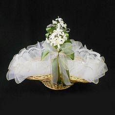 cestas de casamento | Cesta de Vime para Lembrancinhas - Verde Oliva com Ouro